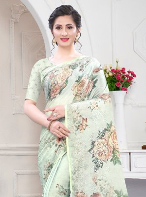Digital Print Georgette Satin Designer Saree