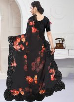 Digital Print Georgette Satin Designer Saree in Black