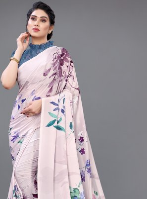 Digital Print Georgette Satin Designer Saree in Multi Colour