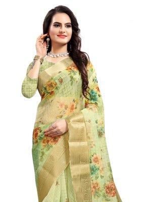 Digital Print Green Printed Saree