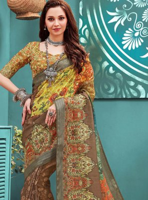 Digital Print Linen Multi Colour Printed Saree