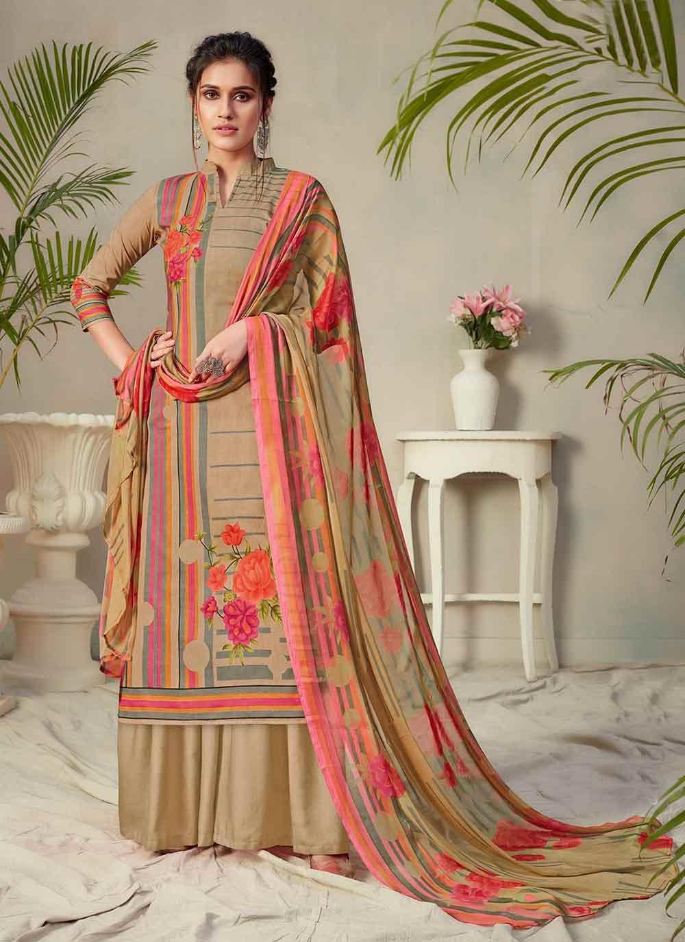 Digital Print Multi Colour Fancy Fabric Palazzo Designer Salwar Suit