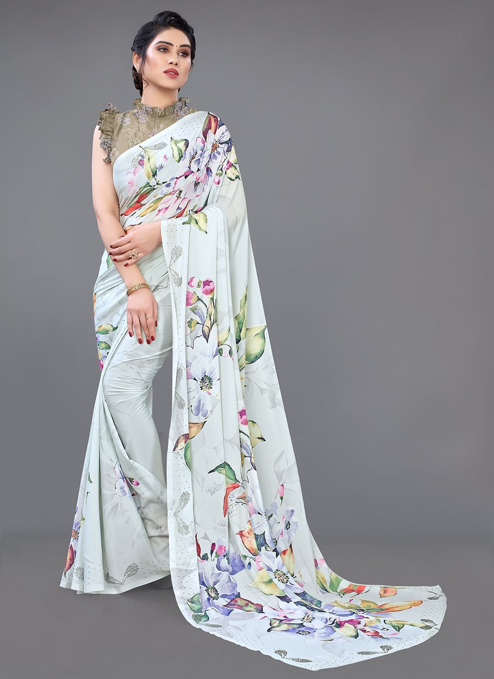 Digital Print Multi Colour Georgette Satin Designer Saree