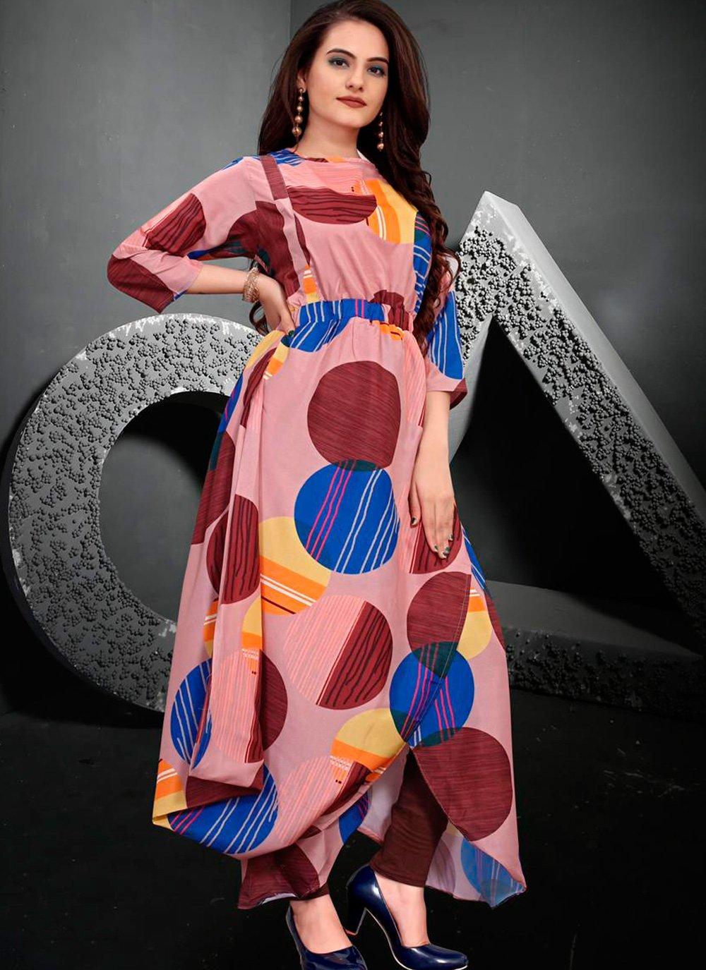 Digital Print Multi Colour Muslin Designer Kurti