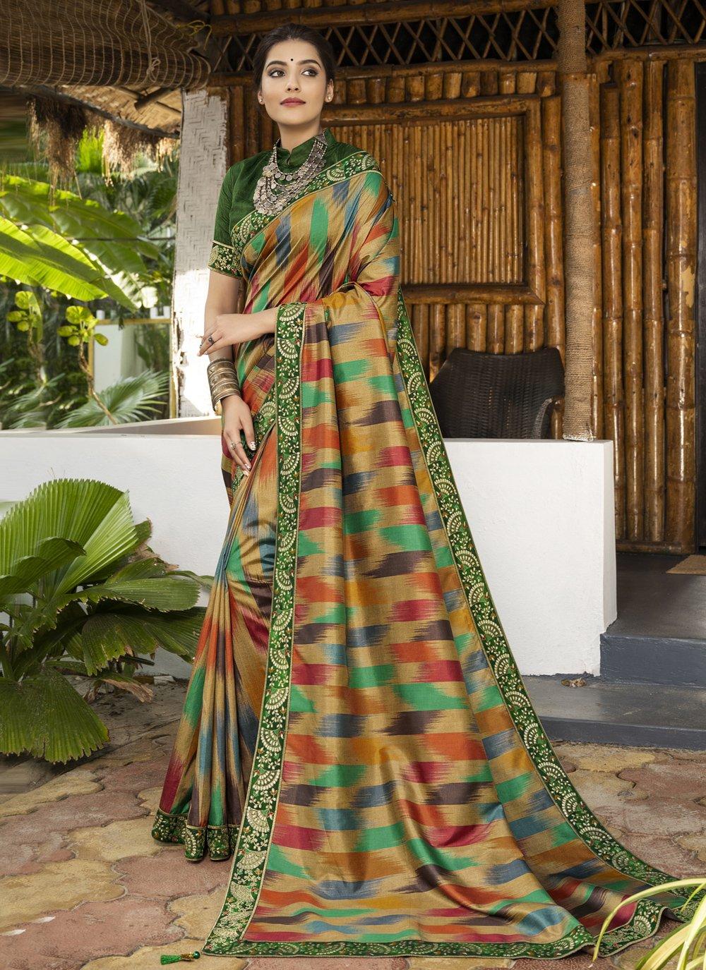 Digital Print Multi Colour Silk Bollywood Saree