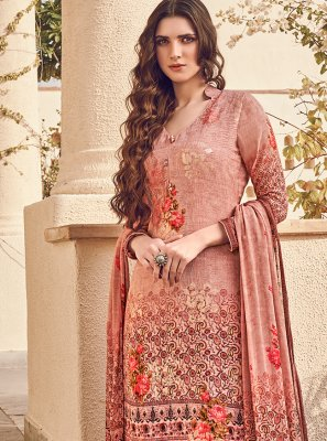 Digital Print Peach Designer Pakistani Suit