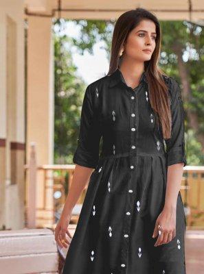 Digital Print Rayon Party Wear Kurti in Black
