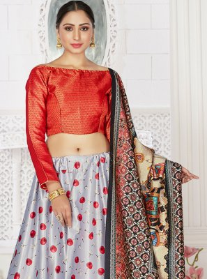 Digital Print Satin Readymade Lehenga Choli in Grey