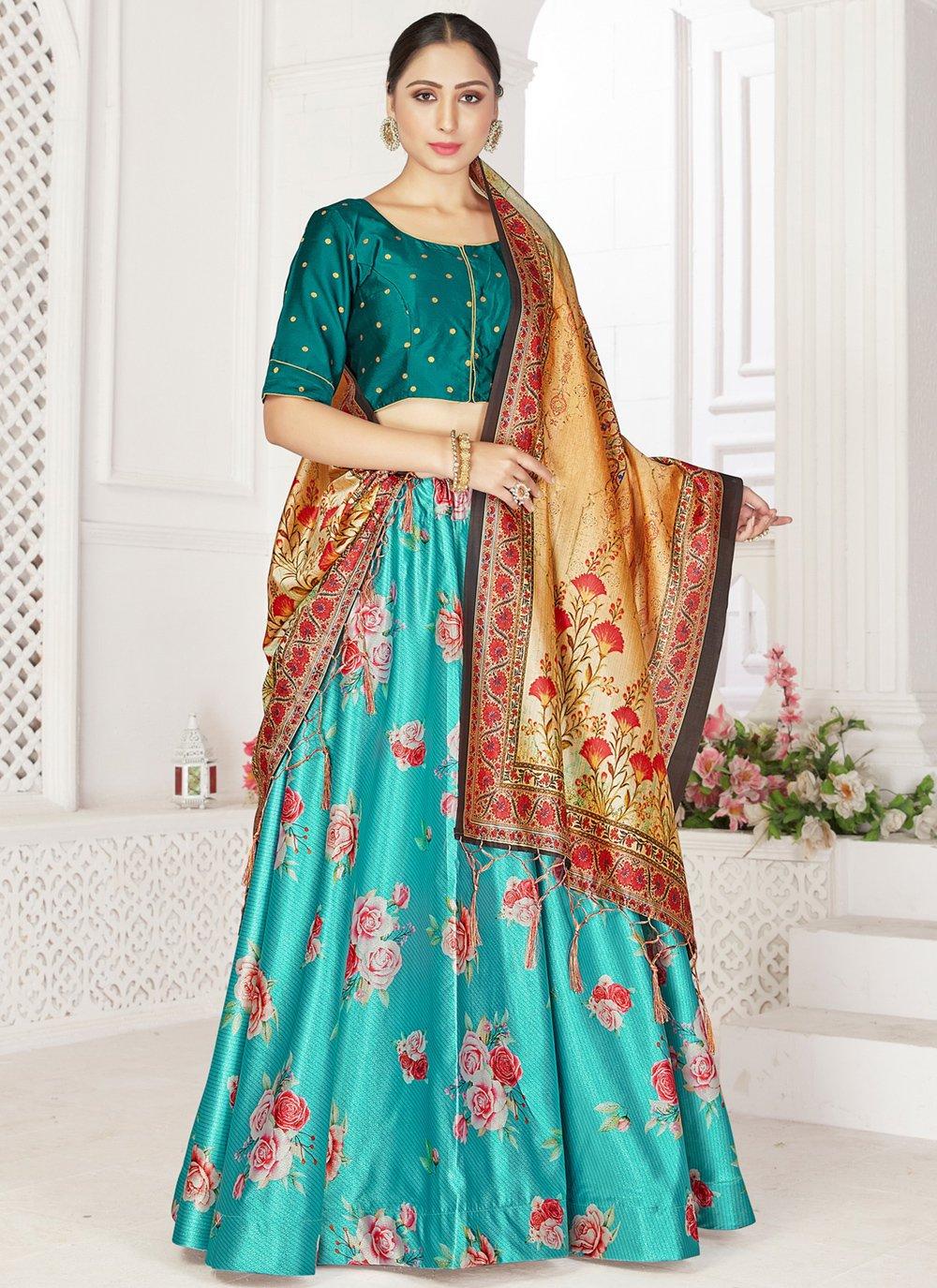 Digital Print Satin Readymade Lehenga Choli in Turquoise