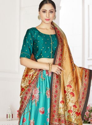 Digital Print Satin Readymade Lehenga Choli in Turquoise