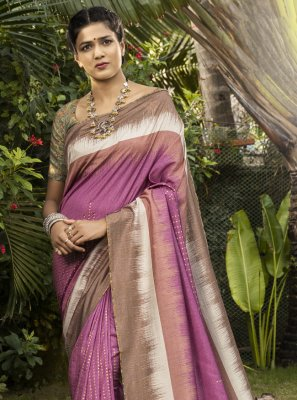 Digital Print Silk Bollywood Saree in Pink