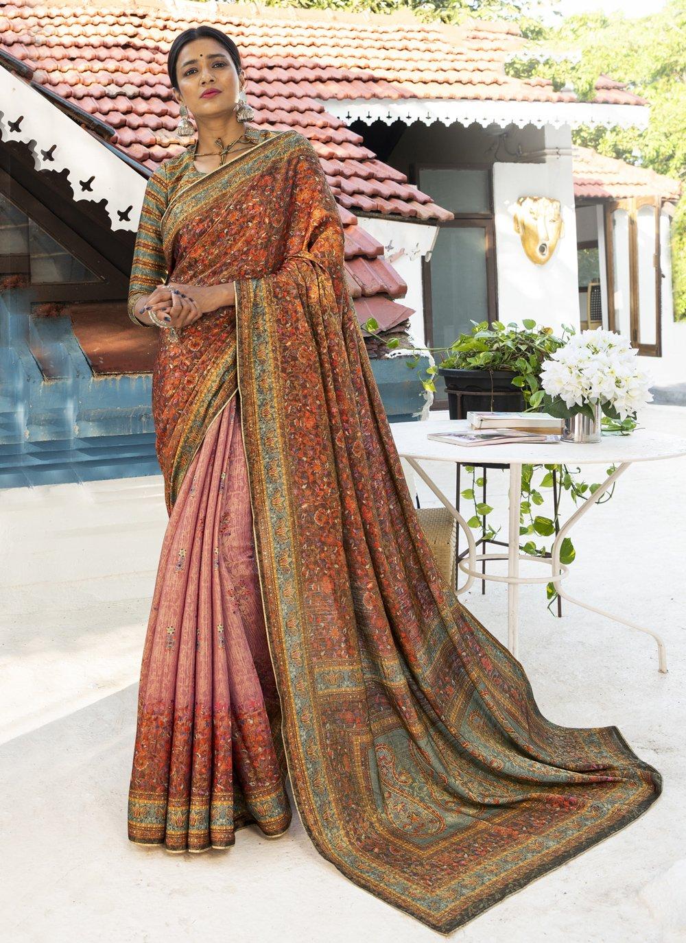 Digital Print Silk Designer Traditional Saree in Multi Colour