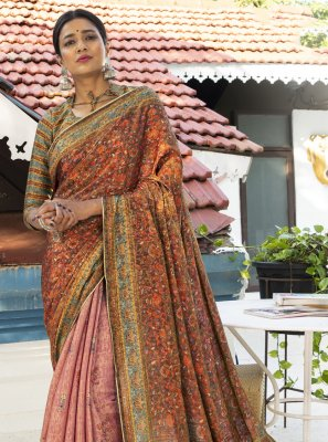 Digital Print Silk Designer Traditional Saree in Multi Colour