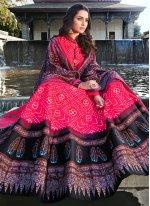 Digital Print Silk Hot Pink Readymade Anarkali Salwar Suit