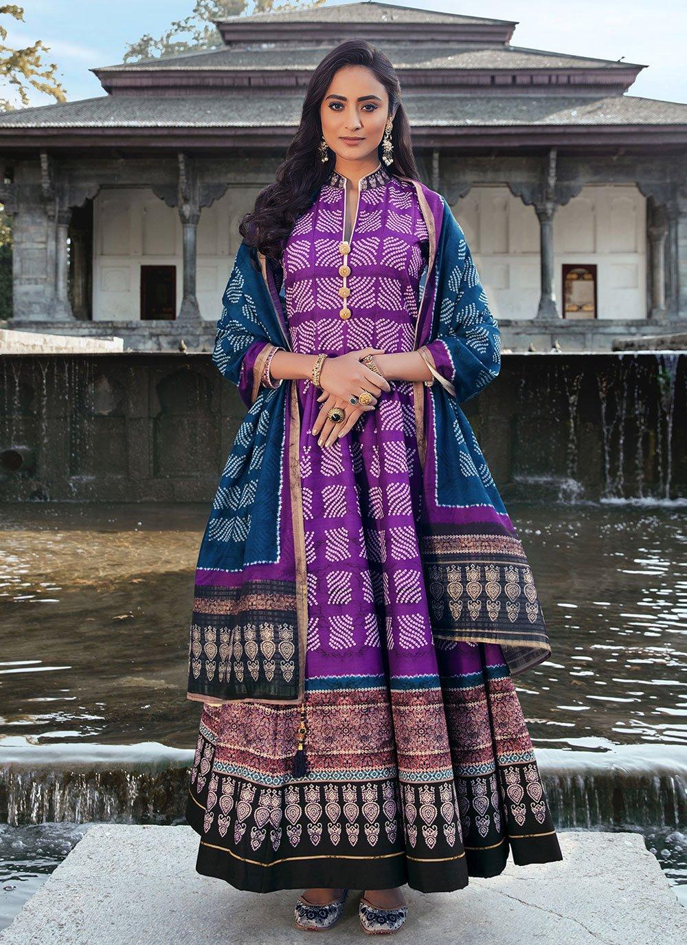 Digital Print Silk Readymade Anarkali Salwar Suit in Violet