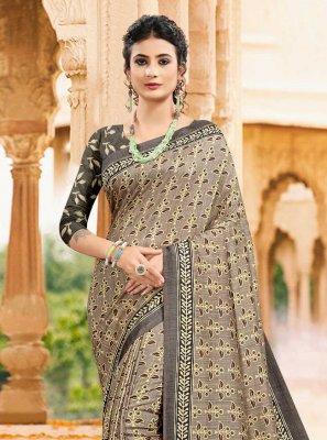 Digital Print Tussar Silk Printed Saree in Multi Colour