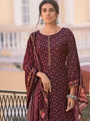 Digital Print Wine Trendy Salwar Kameez