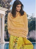 Digital Print Yellow Satin Designer Pakistani Suit
