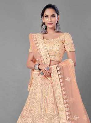 Dori Work Net Lehenga Choli in Peach