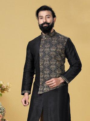 Dupion Silk Black Embroidered Kurta Pyjama