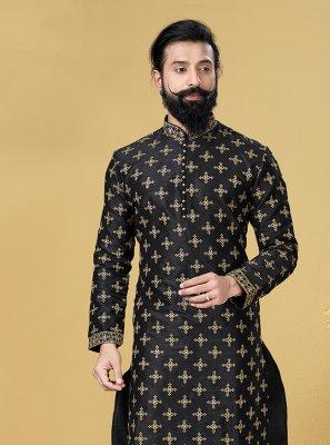 Dupion Silk Black Kurta Pyjama