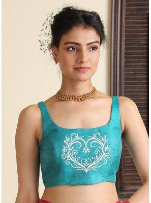 Dupion Silk Embroidered Blouse in Aqua Blue