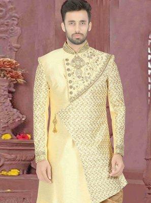 Dupion Silk Embroidered Cream Sherwani