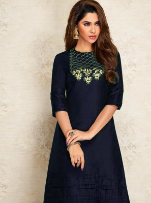 Dupion Silk Navy Blue Embroidered Designer Kurti