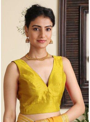 Dupion Silk Plain Designer Blouse in Yellow
