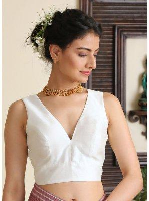 Dupion Silk Plain White Designer Blouse