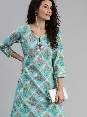 Embroidered Aqua Blue Cotton Party Wear Kurti