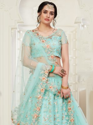 Embroidered Aqua Blue Designer Lehenga Choli