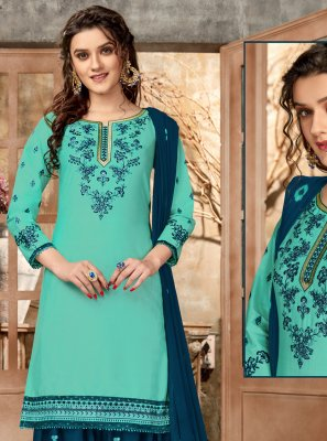Embroidered Aqua Blue Designer Patiala Suit