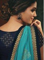 Embroidered Aqua Blue Designer Traditional Saree