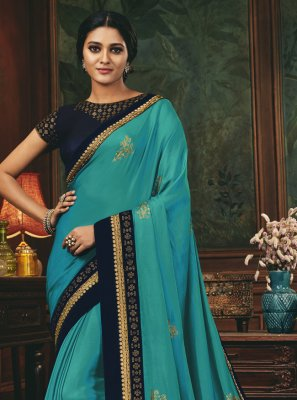 Embroidered Aqua Blue Designer Traditional Saree