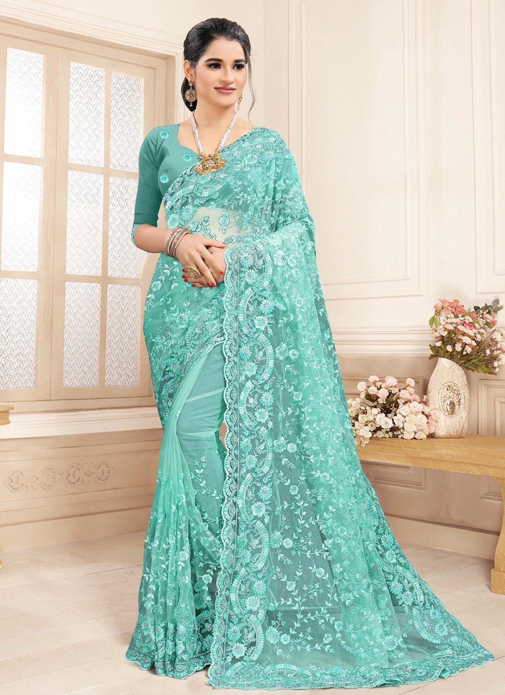 Embroidered Aqua Blue Net Contemporary Saree