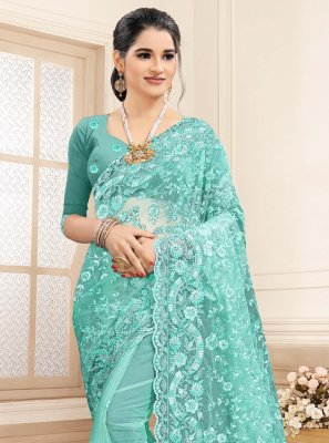 Embroidered Aqua Blue Net Contemporary Saree
