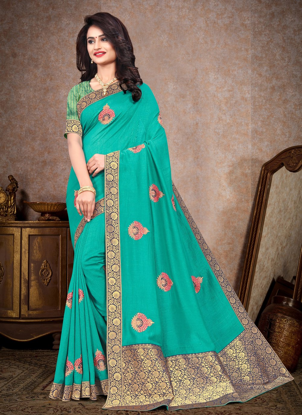 Embroidered Aqua Blue Silk Designer Saree