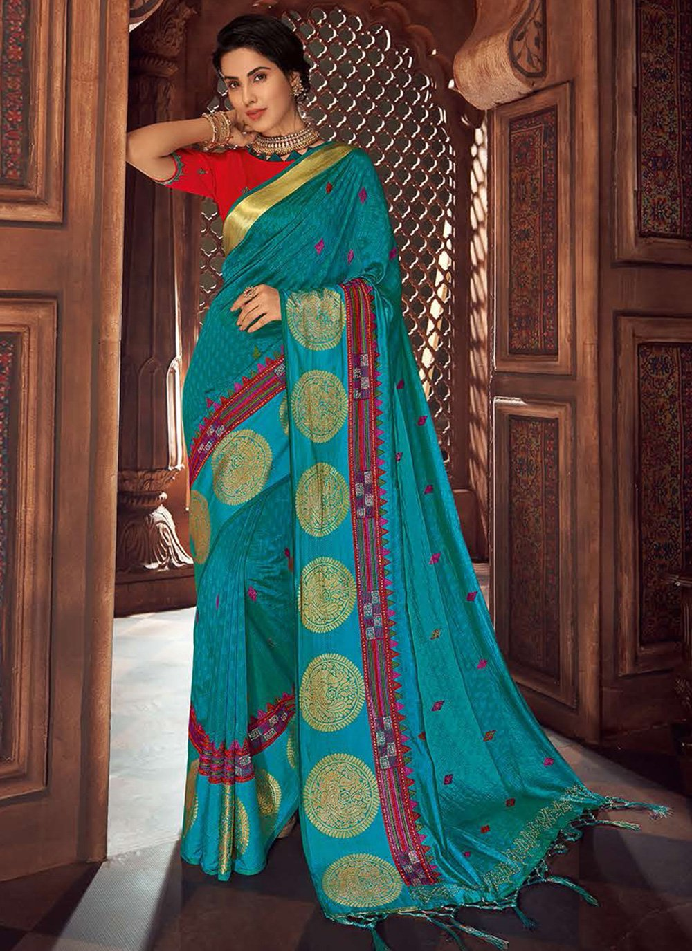 Embroidered Aqua Blue Traditional Saree