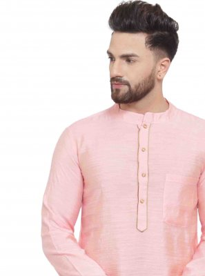 Embroidered Art Dupion Silk Kurta in Pink