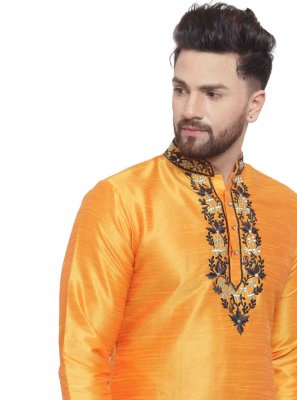 Embroidered Art Dupion Silk Kurta in Yellow