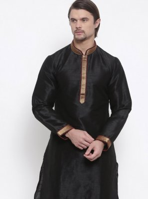 Embroidered Art Dupion Silk Kurta Pyjama in Black