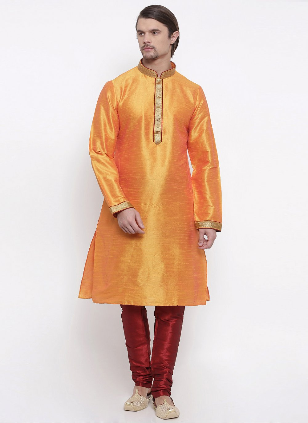 Embroidered Art Dupion Silk Kurta Pyjama in Orange