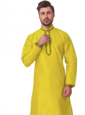 Embroidered Art Dupion Silk Kurta Pyjama in Yellow