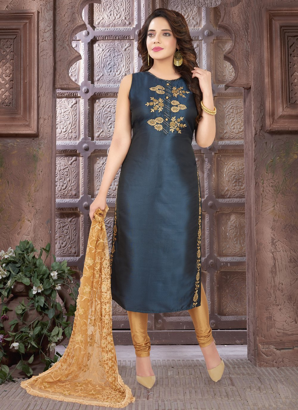 Embroidered Art Silk Blue Readymade Suit