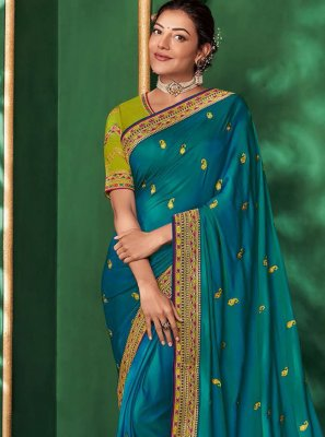 Embroidered Art Silk Classic Saree in Blue