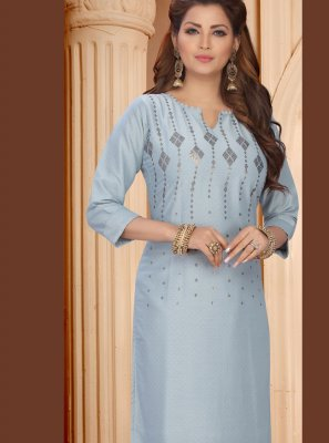 Embroidered Art Silk Designer Kurti in Blue and Grey