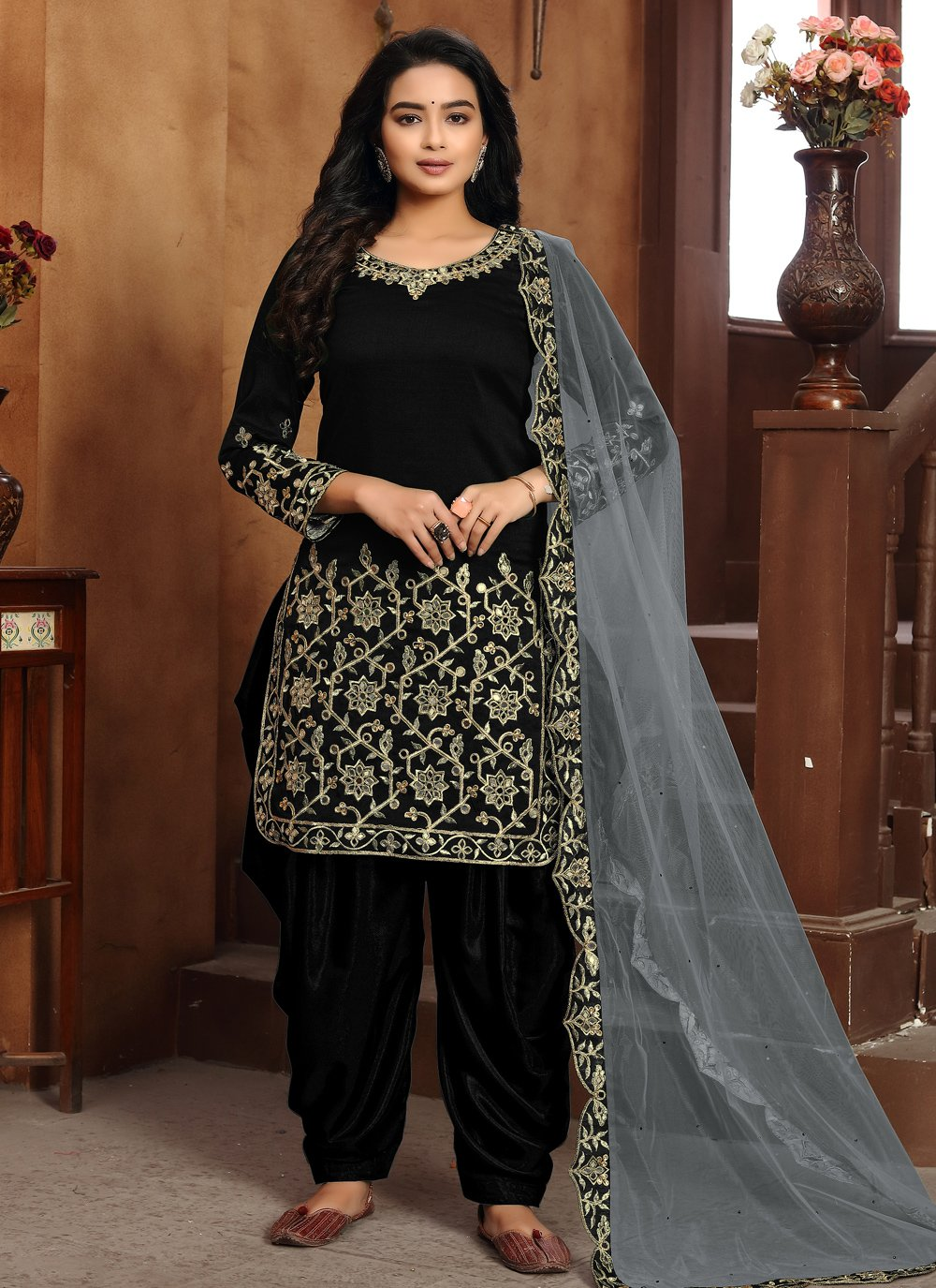 Embroidered Art Silk Designer Patiala Suit