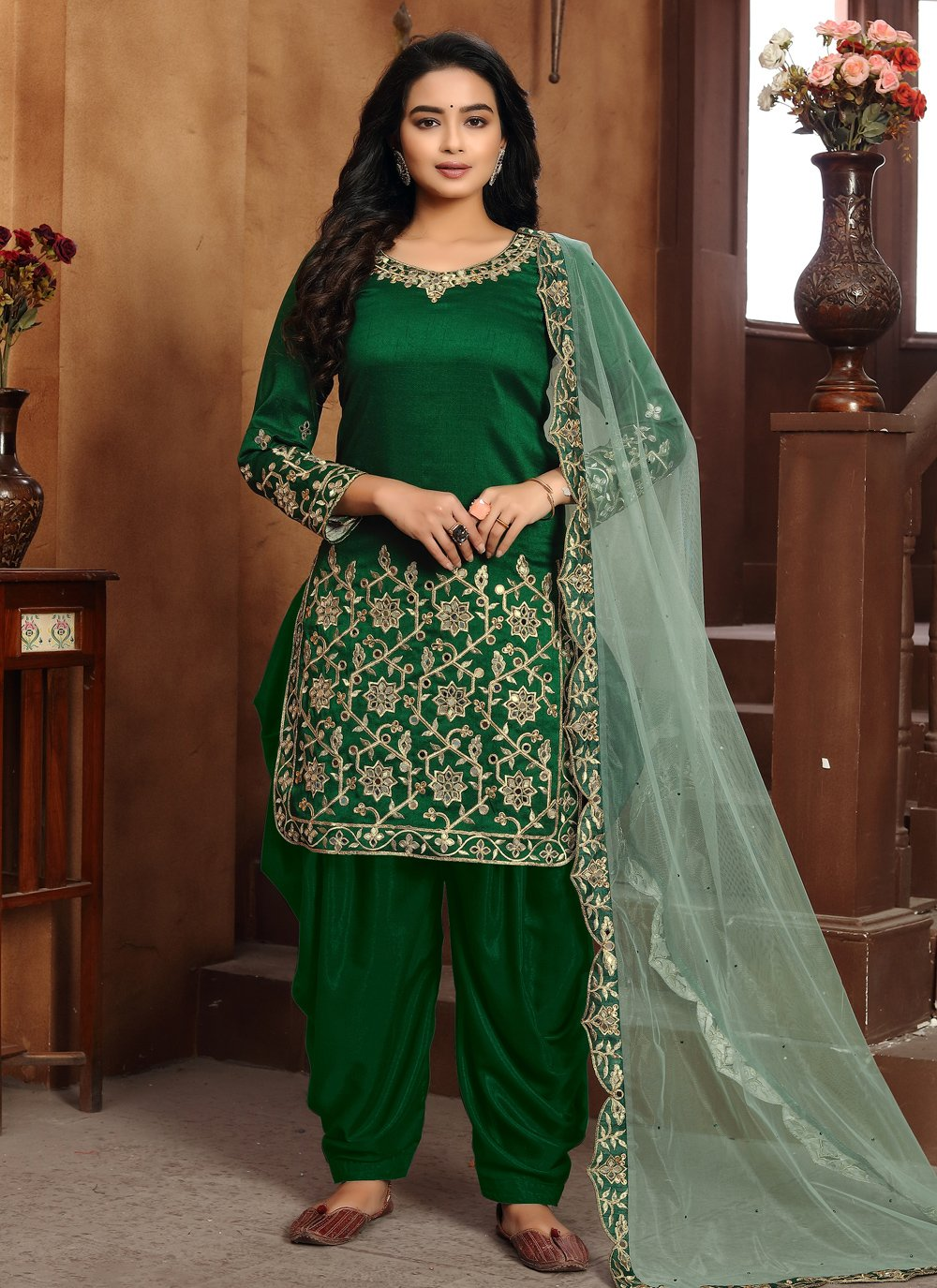 Embroidered Art Silk Designer Patiala Suit in Green