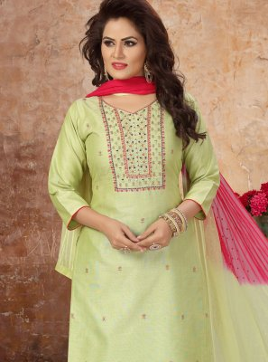 Embroidered Art Silk Green Readymade Suit